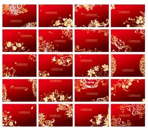 金色の植物柄名刺テンプレート Golden Floral Business Cards Vector Set