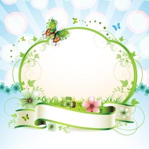 蝶が舞う花のフレーム Floral frame vector