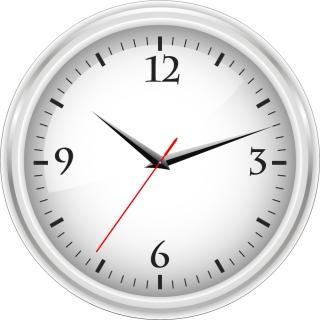 事務用の白い時計 White office clock graphic