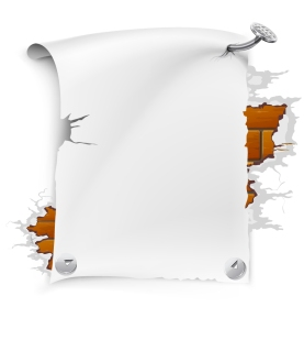 レンガに釘付けした空白のテキスト スペース Blank paper nailed to broken brick wall