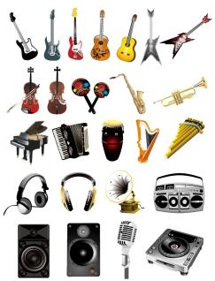 楽器と音響機器のイラスト Musical instruments vector graphic