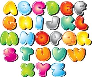 光沢ある漫画風アルファベット Cartoon Style Letters Vector Set