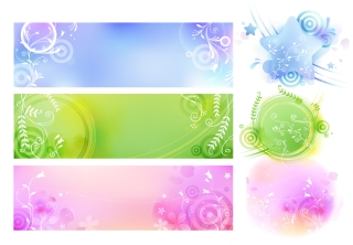 植物柄のバナーと背景 abstract floral banner backgrounds
