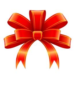 ギフト飾りの赤いリボン Red ribbon for gift decoration