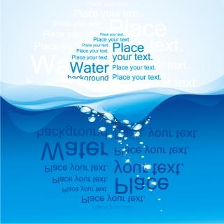 波打つ水面に反射するテキスト Abstract vector water wave