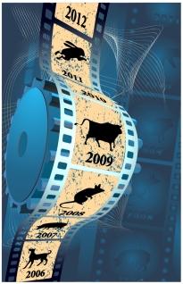 干支を描いたフィルムストリップ Chinese calendar on filmstrip vector graphic