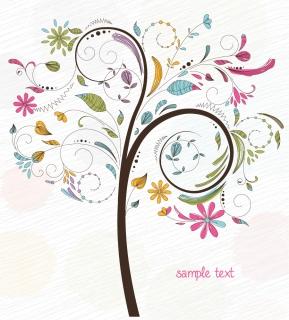 華やかな樹のイラスト Free tree vector illustration