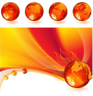 炎に包まれた地球儀 Burning globe on a abstract background
