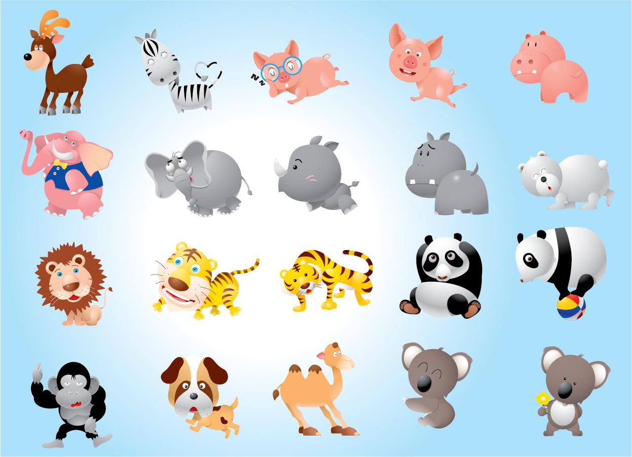 漫画風の動物のイラスト animal cartoons pack | illustpost