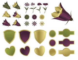 花と盾の飾り Flowers and shields vector graphic