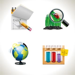 学問に関するアイコン notebook pencil formula magnifying glass globes イラスト素材