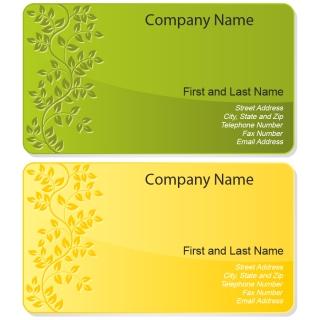 植物柄の名刺テンプレート 2色 Floral business cards set