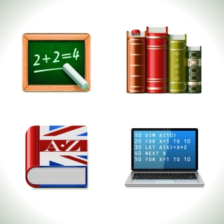 黒板 辞書など学問のアイコン icons blackboard books chalk computer