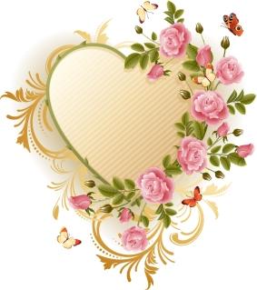 薔薇と蝶で飾るハート型フレーム EXQUISITE ROSES BUTTERFLY VECTOR