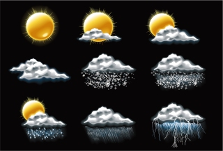 精巧な天気のアイコン FINE WEATHER ICON イラスト素材
