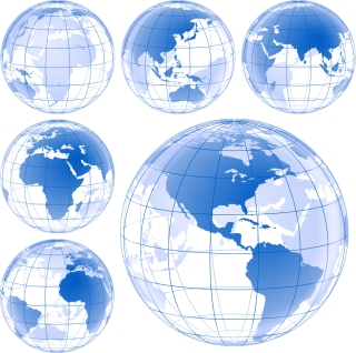 青く透明な地球儀 Blue Earth Globe Vector Set