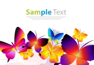 蝶が舞う背景 Colorful Butterflies Vector Art