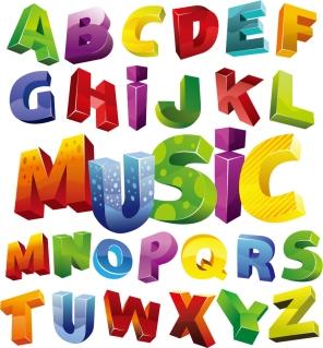 カラフルで立体的なアルファベット Colorful 3D Alphabet Vector Graphic