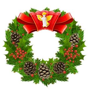 クリスマス飾りの花輪 Christmas decoration wreath イラスト素材