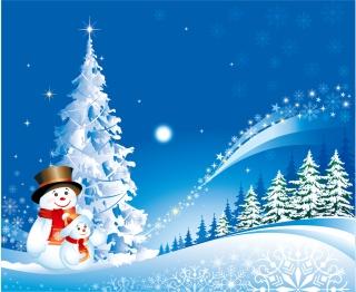 雪だるまとクリスマスの夜 Christmas tree snowman Vector イラスト素材