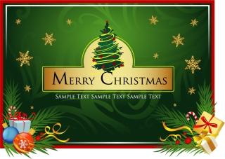 クリスマス・カードのテンプレート gift ribbon bow Christmas card material イラスト素材