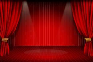 真紅のステージ カーテン STAGE CURTAIN VECTOR イラスト素材
