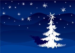 手書きのクリスマス・ツリーと雪の背景 HAND-PAINTED BRUSH STROKES CHRISTMAS TREE イラスト素材