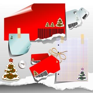 クリスマス飾りの付箋 Christmas tree sticker tag イラスト素材