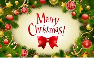 クリスマス飾りのフレーム・背景 Christmas colored balls, stars ornaments background イラスト素材