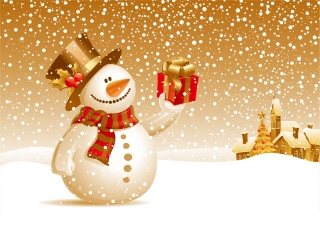 クリスマス・プレゼントを届ける雪だるま Snowman deliver Christmas presents イラスト素材