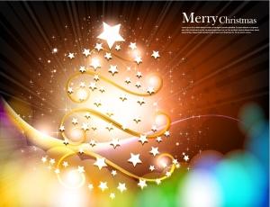 輝く星で模った幻想的なクリスマス・ツリー christmas tree with star vector fantasy イラスト素材