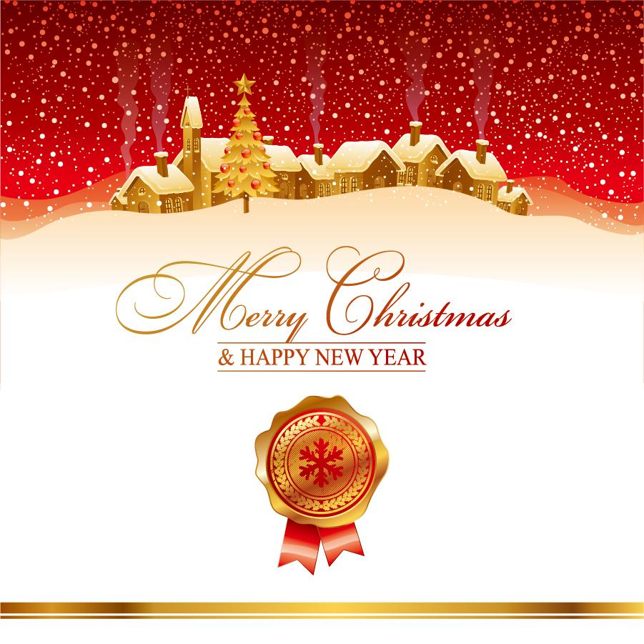雪深いクリスマスの街並み Christmas House With Snowflakes Background