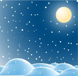 月明かりの雪降るクリスマスの夜 Snow falls in the moonlit night of Christmas イラスト素材