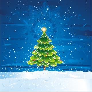 雪空のクリスマス・ツリー SNOW TREE VECTOR MATERIAL イラスト素材