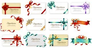 蝶結びのリボンとギフトカードのテンプレート bow ribbon gift card vector イラスト素材4