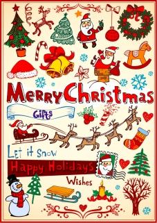 クリスマスを表現したイラスト素材 CHRISTMAS TREES, CHRISTMAS WREATHS, CANDLES, BELLS
