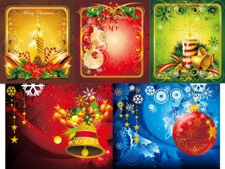5種類のクリスマス・カード テンプレート vector christmas atmosphere イラスト素材