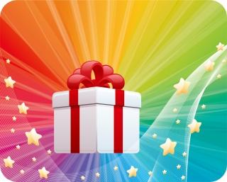 プレゼント箱と虹色の背景 HOLIDAY GIFT VECTOR イラスト素材