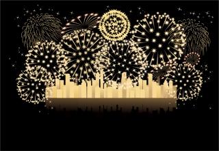 祭日を祝う花火 festive atmosphere Fireworks イラスト素材3
