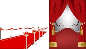カーテン奥のレッドカーペット RED CARPET CURTAIN VECTOR SOURCE イラスト素材