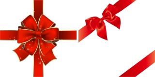 ギフト用の赤い蝶結びのリボン RED RIBBON BOW GIFT VECTOR MATERIAL イラスト素材1