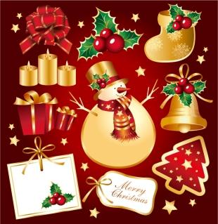 金色に輝くクリスマス素材 AUREATE CHRISTMAS ELEMENT VECTOR イラスト素材