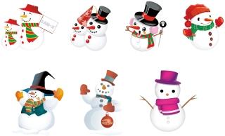 着飾った雪だるま CHRISTMAS SNOWMAN イラスト素材