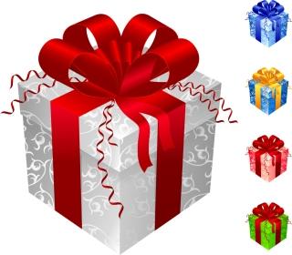 お洒落なリボンの色違いのプレゼント箱 COLOR GIFT PACKAGING VECTOR イラスト素材