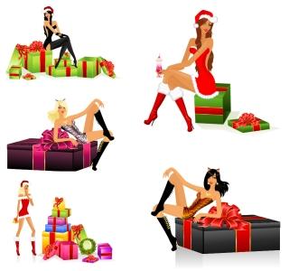 セクシーな女性のクリスマス・プレゼント sexy christmas girls vector イラスト素材