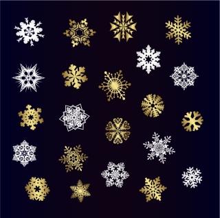 雪の結晶のイラスト A VARIETY OF BEAUTIFUL SNOW VECTOR イラスト素材2