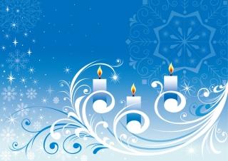 雪とキャンドルのクリスマスの背景 SNOWFLAKE CANDLE PATTERN VECTOR イラスト素材