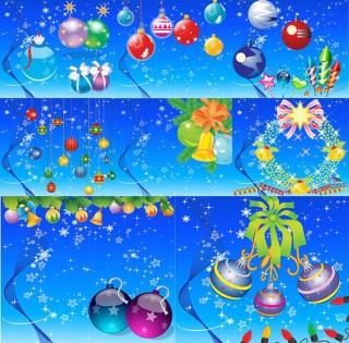 8種類のクリスマス ボールの背景 Christmas hanging ball ornaments snowflake イラスト素材2