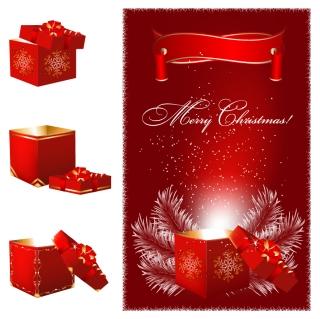 金色と真紅が基調のゴージャスなクリスマス ギフト gorgeous christmas gift vector イラスト素材2