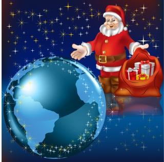 地球を見守るサンタクロース Santa Claus watch over Earth, Snow, Star Christmas background イラスト素材